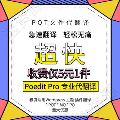 Poedit Pro专业版 WordPress 模板插件翻译 POT文件代翻译